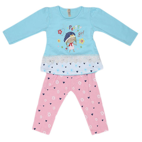 Girls Full Sleeves 2 Piece Suit - Blue