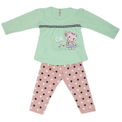 Girls Full Sleeves 2 Piece Suit - Light Green
