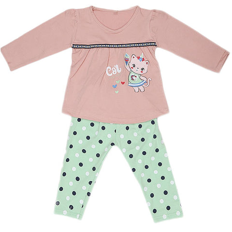 Girls Full Sleeves 2 Piece Suit - T-Pink