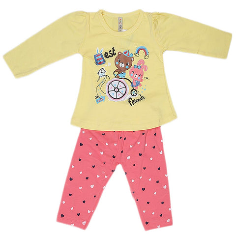 Girls Full Sleeves 2 Piece Suit - Yelloww