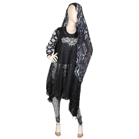 Bridal Dress Embroidered Chiffon 3 Piece Semi-Stitched Suit - Black
