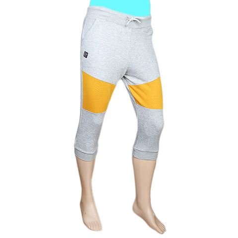 Men's Fancy Terry 3Qtr, Heather Grey / Gold