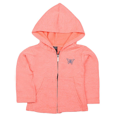 Girls Full Sleeves Hooded Zipper Upper - Orange