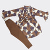 Girls Full Sleeves Suit - Brown