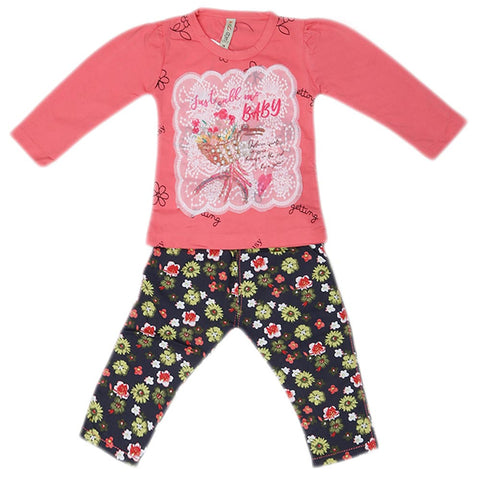 Girls Full Sleeves 2 Piece Suit - Dark Pink