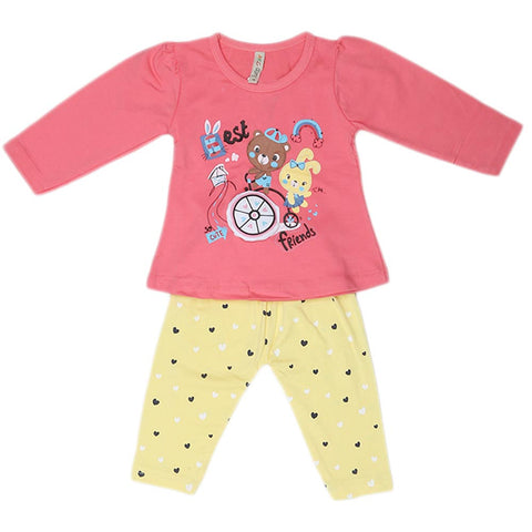 Girls Full Sleeves 2 Piece Suit - Pink