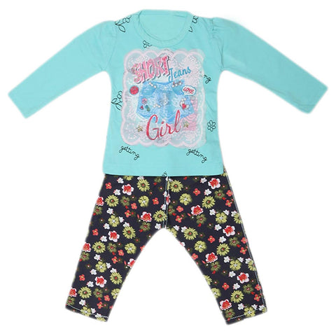 Girls Full Sleeves 2 Piece Suit - Cyan