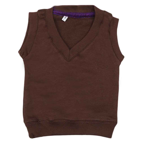 Newborn Boys Sleeveless Sweater - Coffee