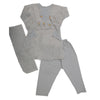 Girls 3Pcs Embroidered Shalwar Suit - Grey