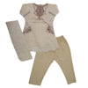 Girls 3Pcs Embroidered Shalwar Suit - Fawn