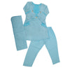 Girls 3 Pcs Embroidery Shalwar Suit - Blue