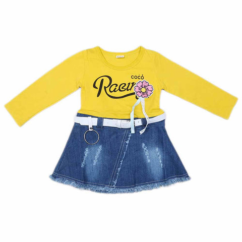 Girls Full Sleeves Frock - Yellow