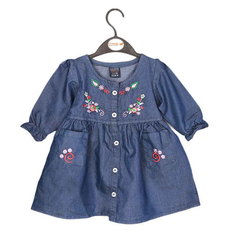 Girls Embroidered Denim Frock- Dark Blue