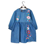 Girls Embroidered Denim Frock - Blue