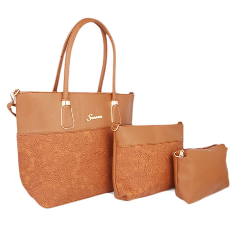 Women's Handbag 3Pcs 223-8 - Light Brown