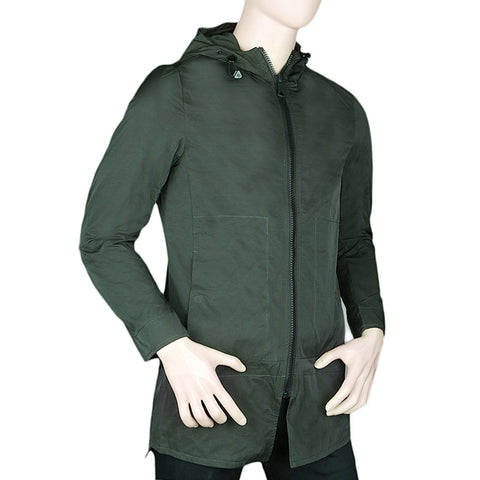 Men's Long Jacket With Hood - Green