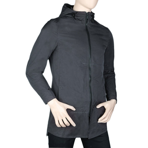 Men's Long Jacket With Hood - Black