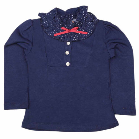 Girls Full Sleeves T Shirt - Navy Blue