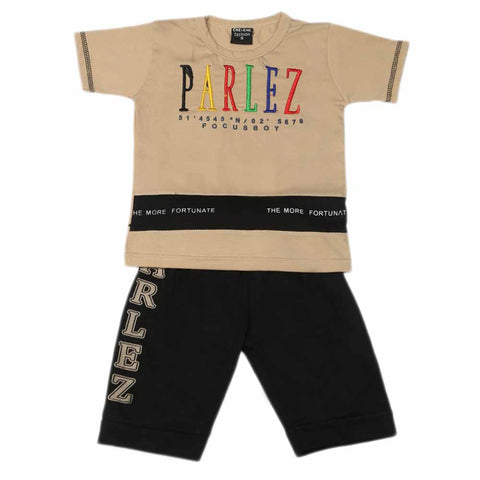 Boys Half Sleeves Suit - Beige