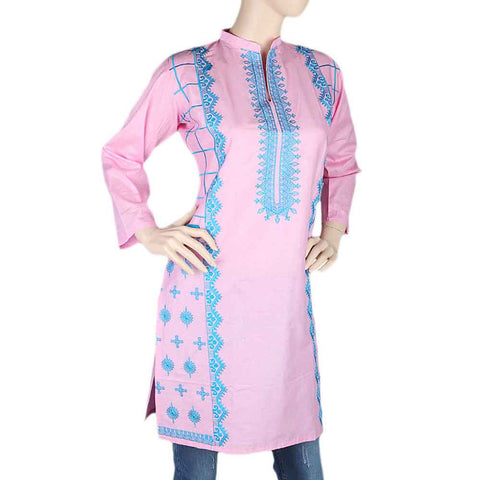 Women's Embroidered Kurti - Pink