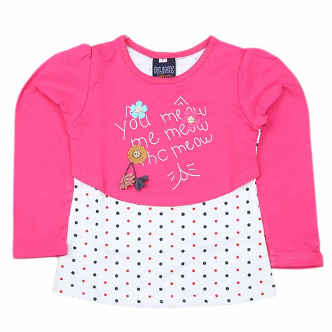 Girls Full Sleeves T Shirt 2 Pcs - Dark Pink