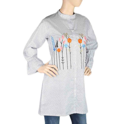 Women's Embroidered Kurti With Front Button - White