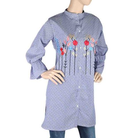Women's Embroidered Kurti With Front Button - Blue