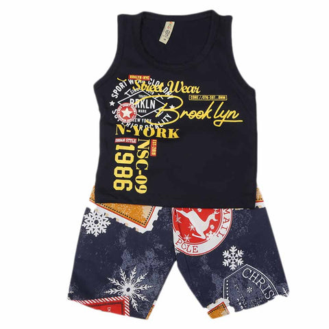 Boys Sando Suit - Navy Blue