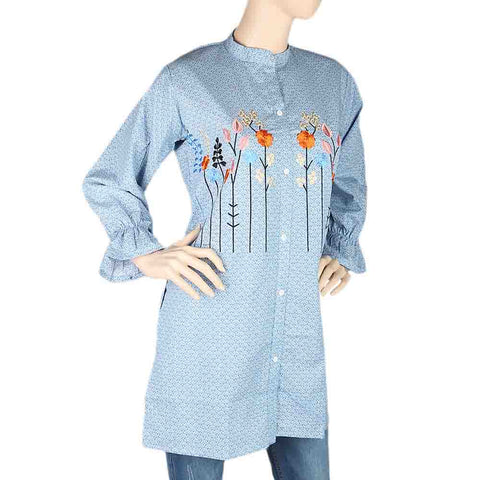 Women's Embroidered Kurti With Front Button - Steel Blue