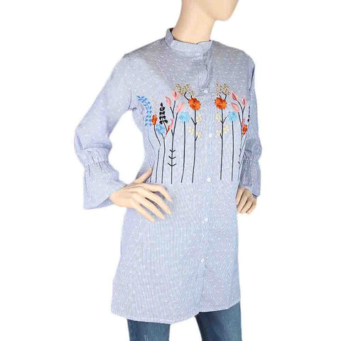 Women's Embroidered Kurti With Front Button - Light Blue
