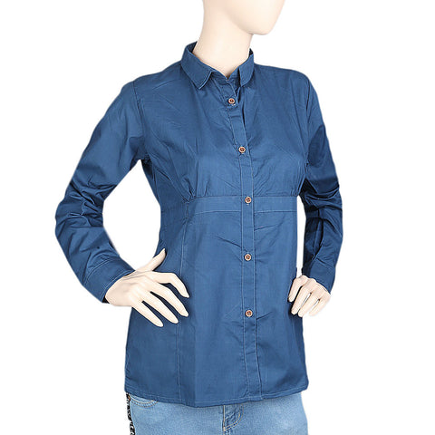 Women's Full Sleeves Casual Shirt - Navy Blue