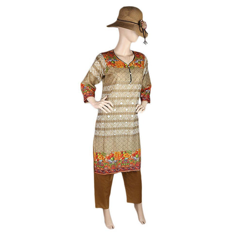Women's Printed Lawn 2 Pcs Stitched Suit - Beige - test-store-for-chase-value