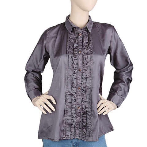 Women's Full Sleeves Casual Shirt - Grey