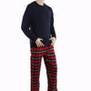 Men's Thermal Sleepwear 2 Pcs Set - Navy Blue Red