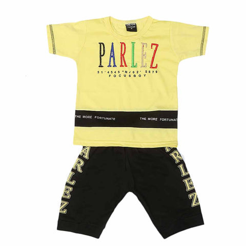Boys Half Sleeves Suit - Yellow