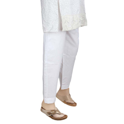 Women's Cigarette Trouser - White - test-store-for-chase-value
