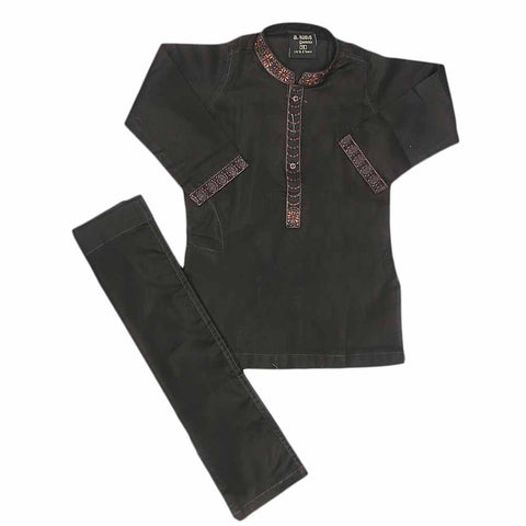 Boys Embroidered Shalwar Suit - Black