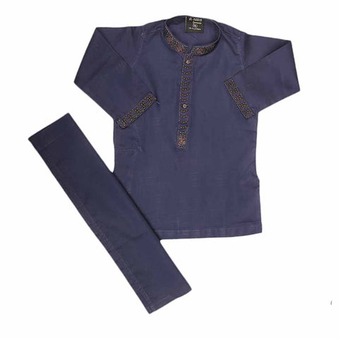 Boys Embroidered Shalwar Suit - Purple