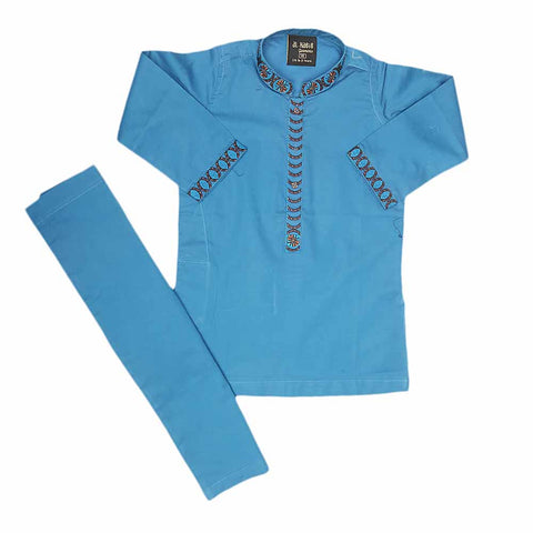 Boys Embroidered Shalwar Suit - Blue