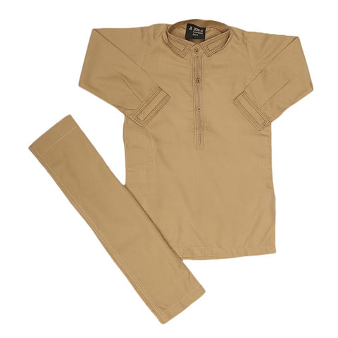 Boys Embroidered Shalwar Suit - Khakhi