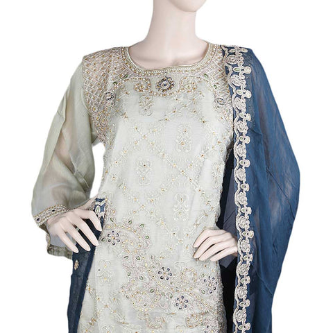 Bridal Dress Maysoori Organza Embroidered Semi-Stitched Suit - Golden Dark Green