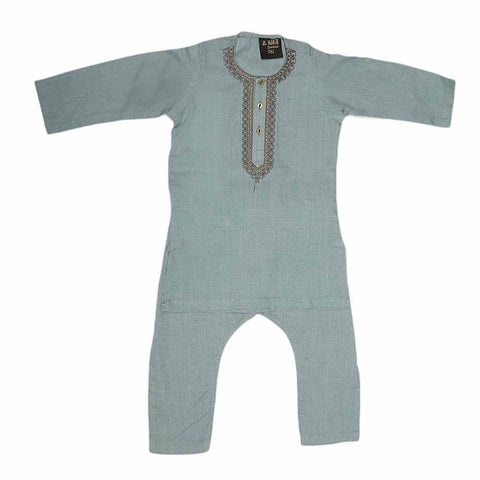 Boys Embroidered Shalwar Suit - Steel Blue