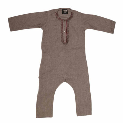Boys Embroidered Shalwar Suit - Brown