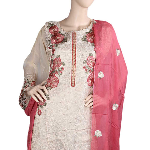 Bridal Dress Maysoori Organza Embroidered Semi-Stitched Suit - Dark Pink
