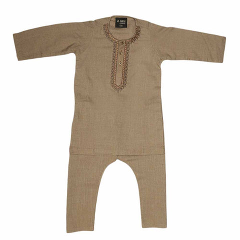 Boys Embroidered Shalwar Suit - Beige