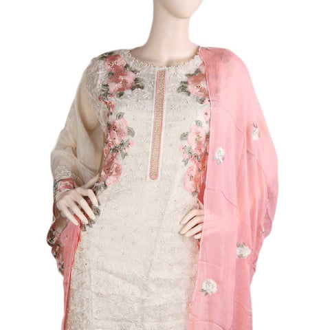 Bridal Dress Maysoori Organza Embroidered Semi-Stitched Suit - Pink