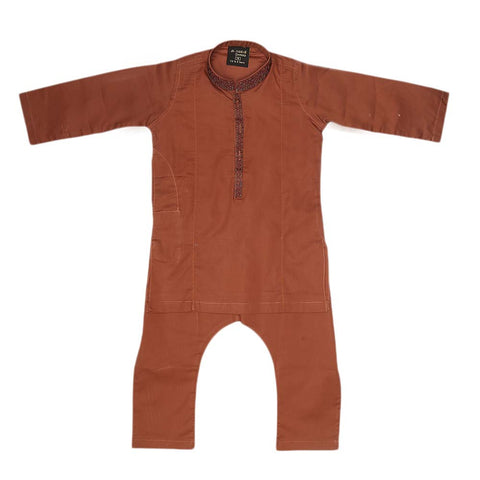 Boys Embroidered Shalwar Suit - Copper