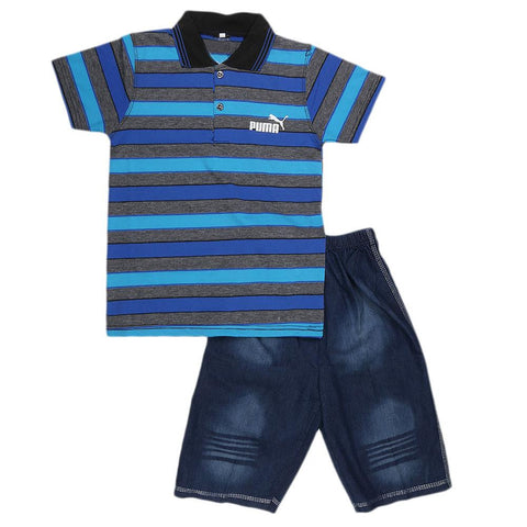 Boys Half Sleeve Suit - Royal Blue - test-store-for-chase-value