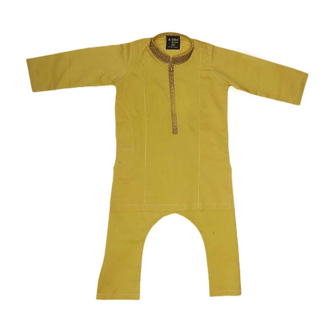 Boys Embroidered Shalwar Kameez - Mustard