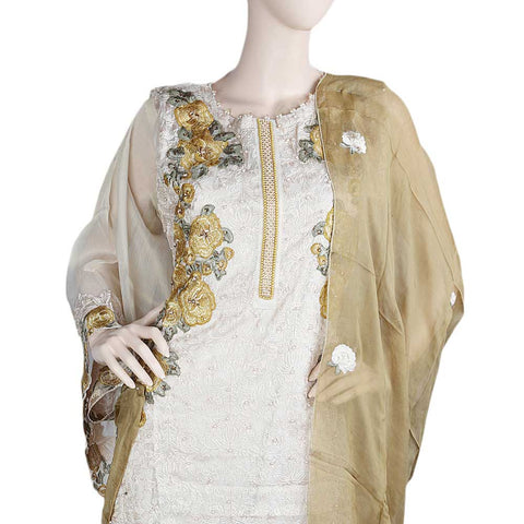 Bridal Dress Maysoori Organza Embroidered Semi-Stitched Suit - Mustard